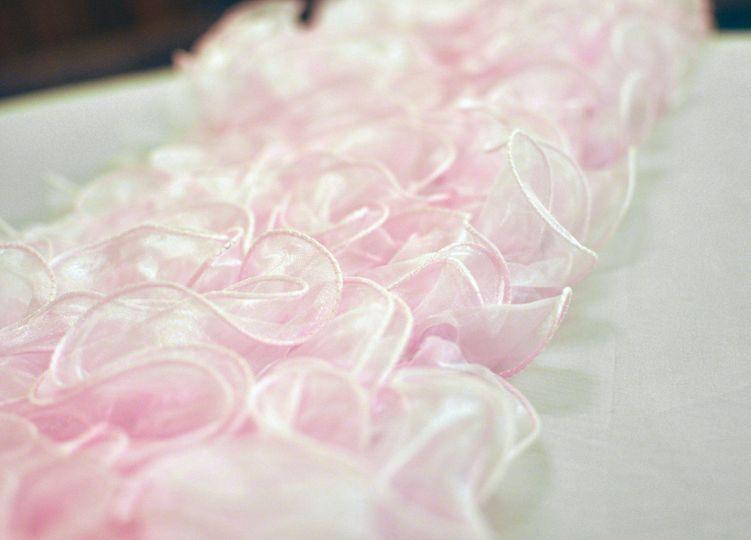 Pink Ruffle Table Runner