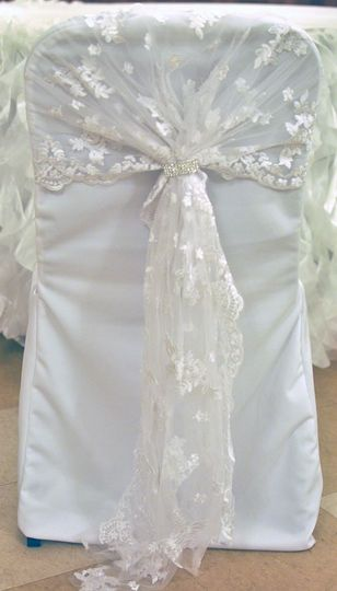 White Lace Chair Hood with Rhinestone Embellishment