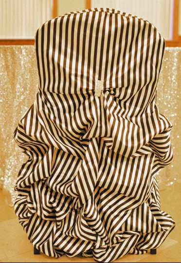 Black & White Striped Couture Banquet Chair Cover with Rhinestone Embellishment