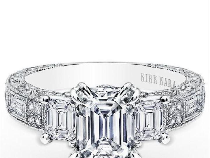 Tmx 1483979976766 Kirkkaracharlotteemeraldcutthreestonediamondringk1 Williamsville, NY wedding jewelry