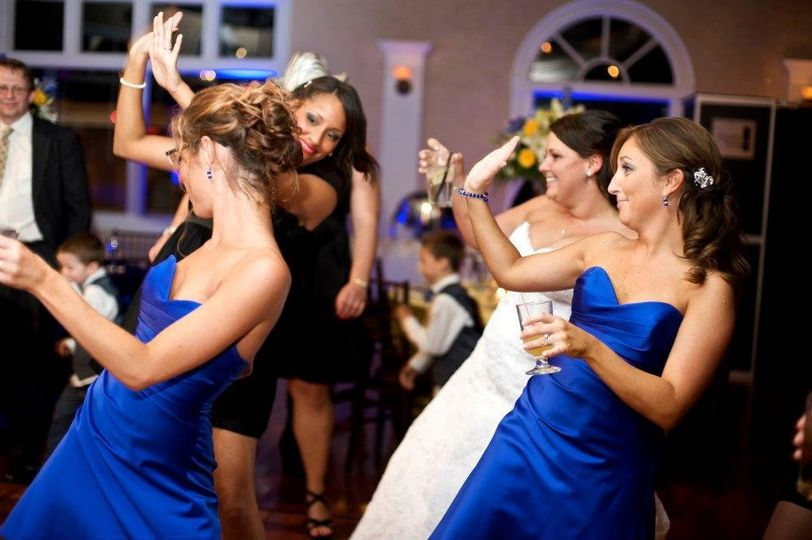 Bride and bridesmaids partying