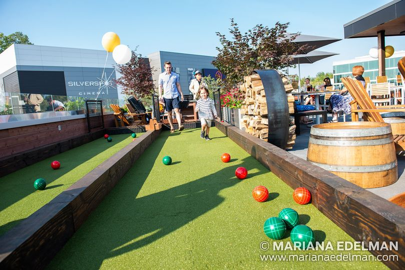 Upstairs, outdoor bocce