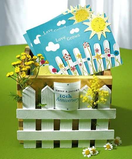 """Love Grows"" Picket Fence with Seeded Paper Sun"