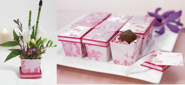 Asian Pink Brocade Boxes