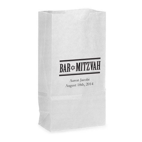 Bar Mitzvah Self-Standing Paper Goodie Bag with Side Gussets and Flat Bottom   13 Colors