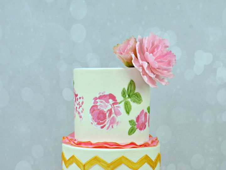 Tmx 1428295147511 Pink And Gold Chevron Ruffle Wedding Cake 002 Cleburne, Texas wedding cake
