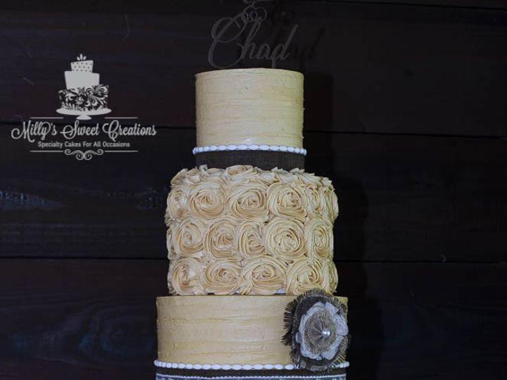 Tmx 1467045295947 Rustic Ivory Wedding Cake With Burlap Flower 001 Cleburne, Texas wedding cake