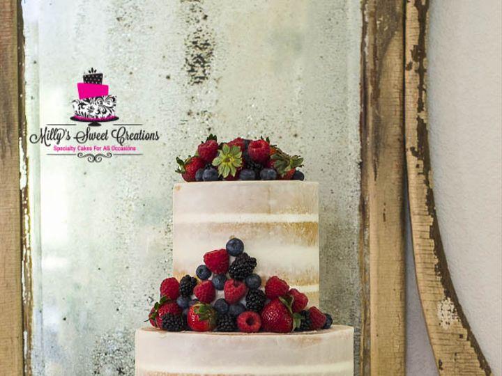 Tmx 1469502311548 Rustic Semi Naked Wedding Cake With Fruits 003 Cleburne, Texas wedding cake