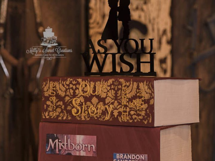 Tmx 1525663307 21b448182f9ac242 1525663304 A9770f0c7edbb431 1525663303718 2 Stack Of Books Wed Cleburne, Texas wedding cake