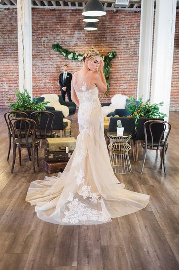 Mermaid wedding dress made in a strong mesh with French lace applique all over the dress. Separate...