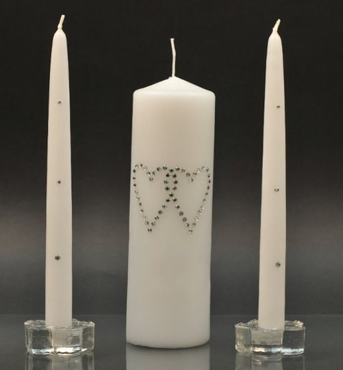 Heart Unity Candle Set  http://www.candles4less.com/Swarovski-Heart-Unity-Set_p_153.html