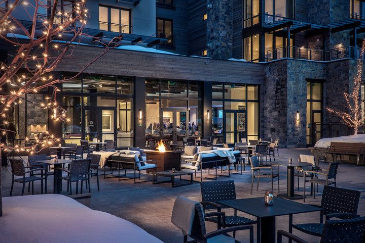 Limelight Hotel Ketchum Events Plaza featuring views of Bald Mountain and the natural beauty of...