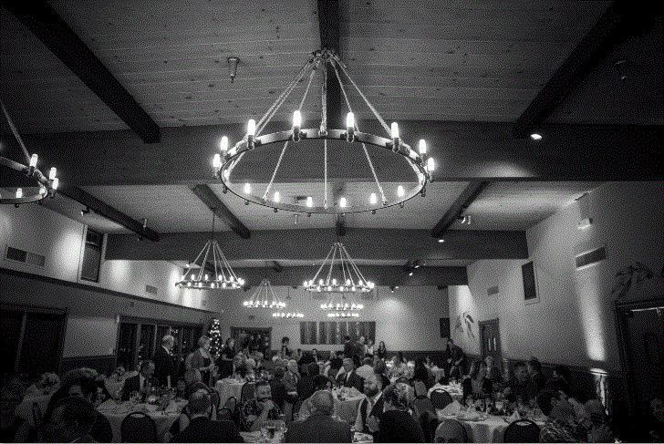club room bw wedding reception