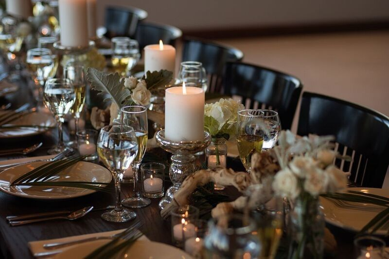Candlelit table setting