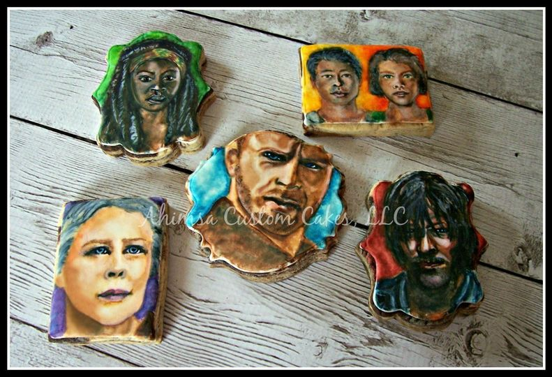 The Walking Dead cookies ~ hand painted over glaze
