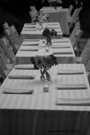 Black and white long table