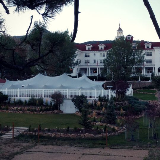 A 2-tent modular stretch tent installation at Stanley Hotel.