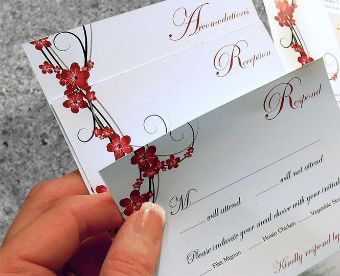 Cherry Blossom Wedding Invitation  All Works © Renee Baran-Hickman 2013. All Rights Reserved.