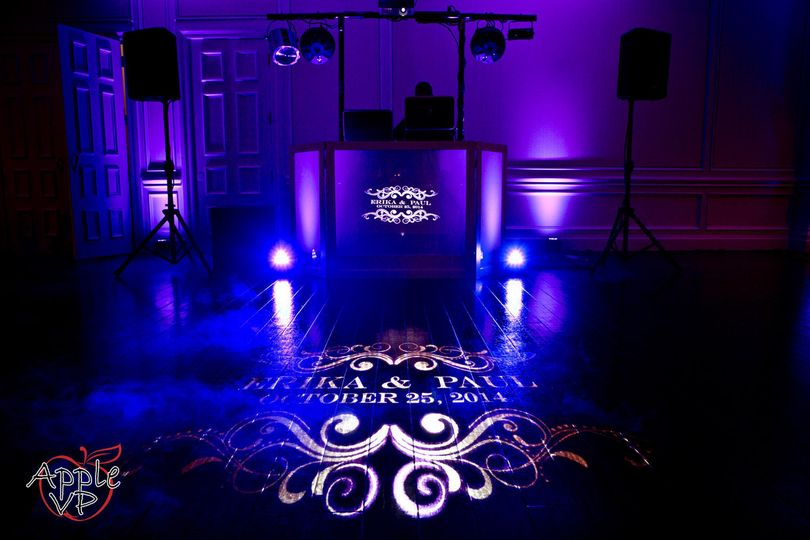 DJ booth and floor projection