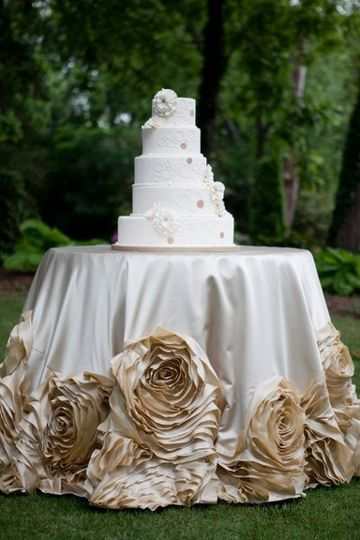 Soft gold custom cabbage rose cake table linen