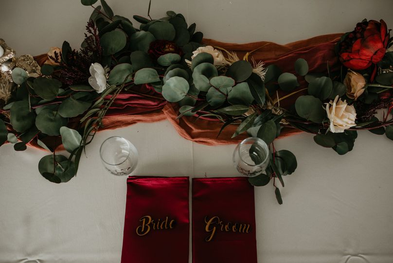 Eucalyptus garland with flower