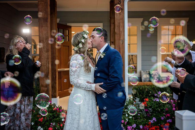 Intimate Wedding Bubble Exit