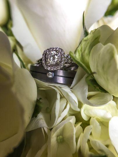 Wedding rings on a flower