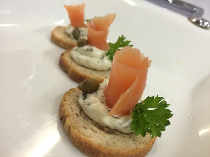 Smoked Salmon Rosette Crostini