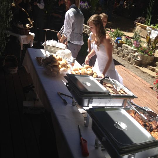 Bride getting food