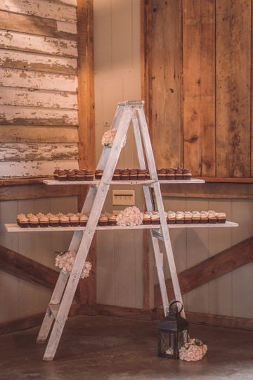 Photo by Sharon Elizabeth Photography  Ladder display designed and styled by Chickadee Events.