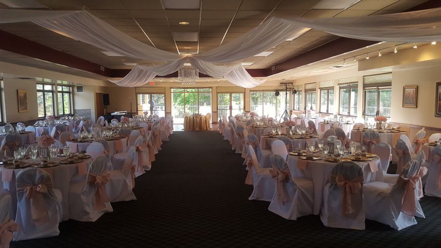 room set for a ceremony.  200 guests