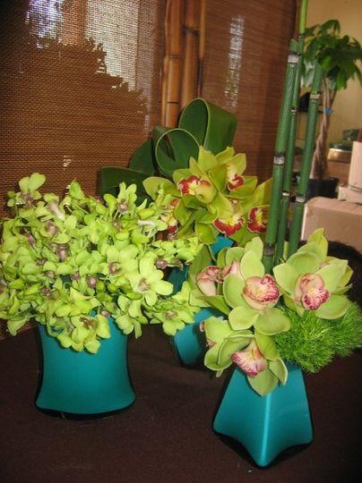 centerpice trio of orchids