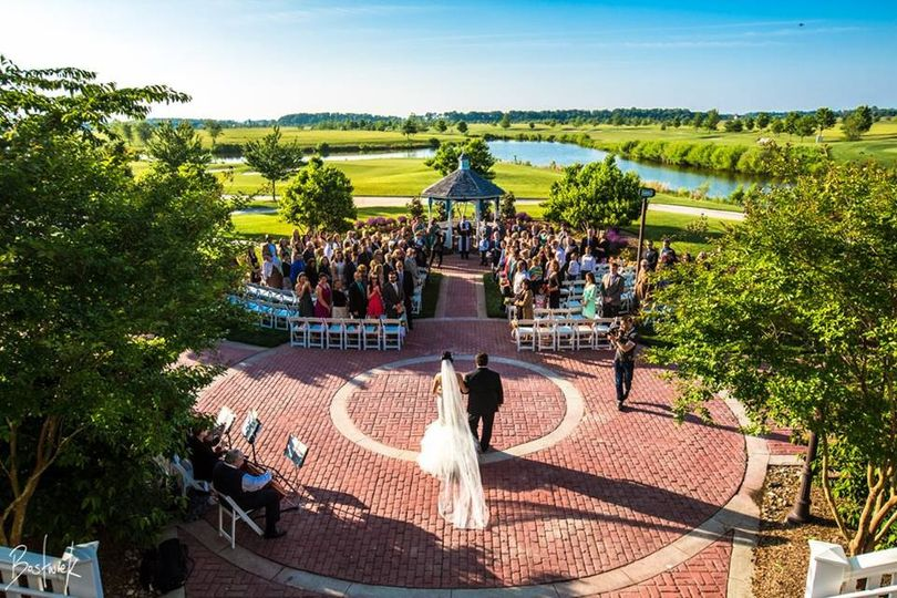 Aerial view of the ceremony