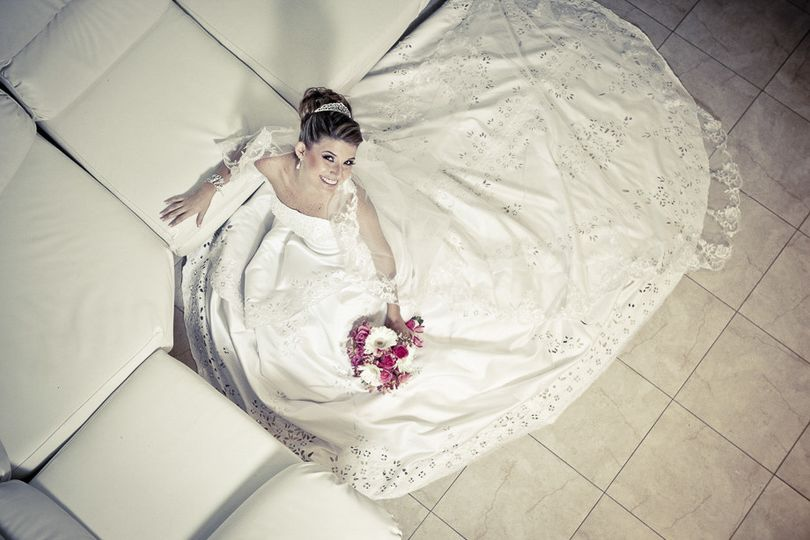 Bride with a long wedding dress from the top