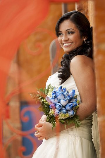 Happy Bride with a beautiful bouquet