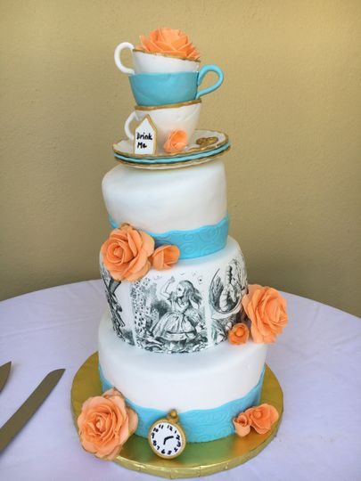 Wedding cake with a touch of blue and orange