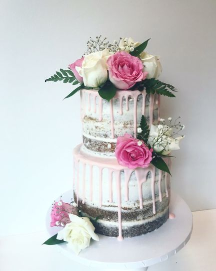 Wedding cake with pink drips