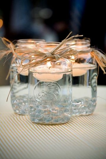 Floating candles in a jar