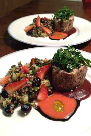 Peppercorn Crusted Grilled Beef Tenderloin served with a Cabernet Reduction Sauce