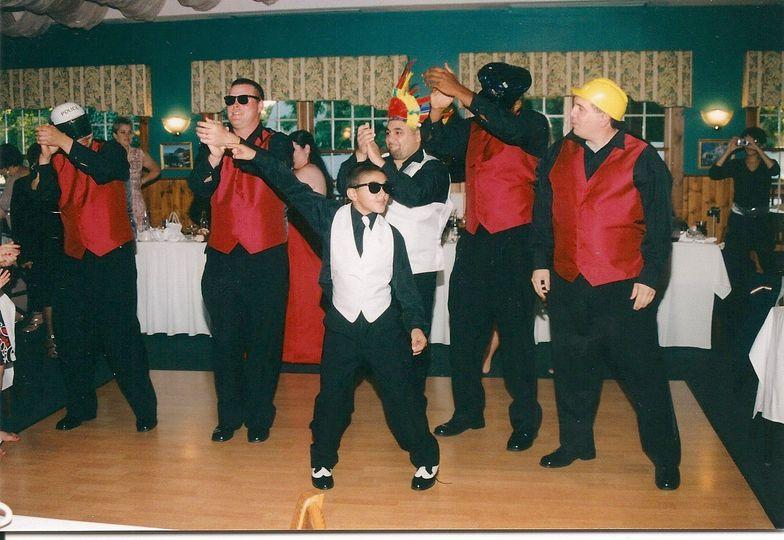 Groomsmen do the YMCA w/our dj