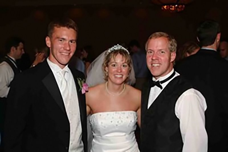 Groom and bride with the DJ
