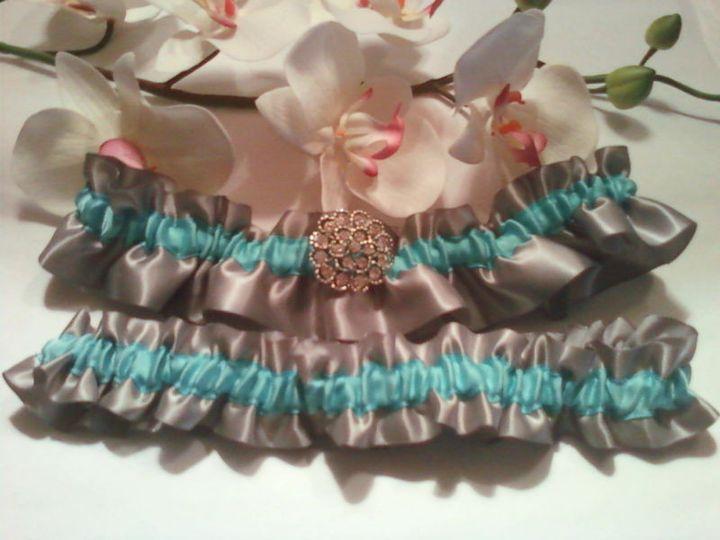 platinum tiffany blue all satin wedding brooch set