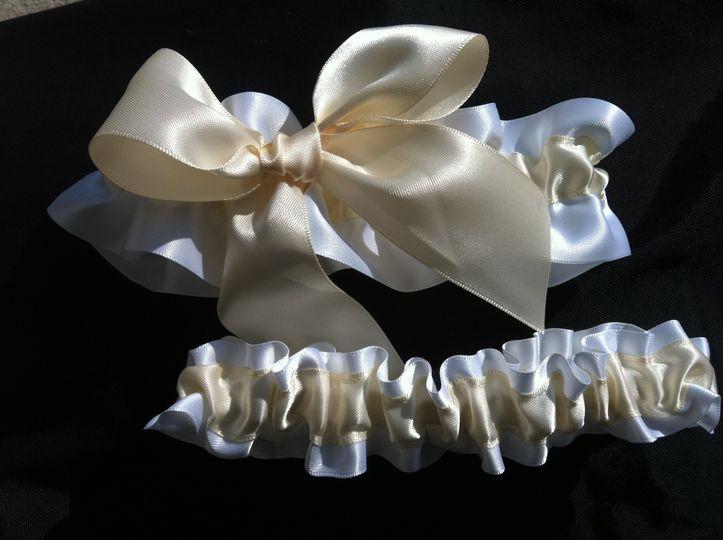 white and ivory satin ivory big bow