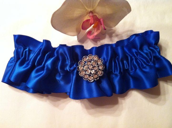 royal blue satin keepsake wedding brooch