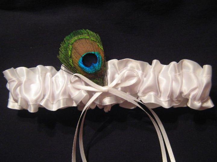 Tmx 1350938591628 Allwhitesatinwpeacockfeatherwhitebowkeepsake Carle Place wedding dress