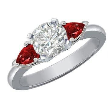 Diamond Engagement Ring with Pear-Shaped Rubies