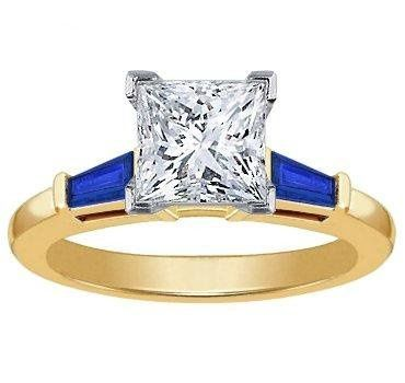 Princess Cut Engagement Ring with Sapphire Baguettes
