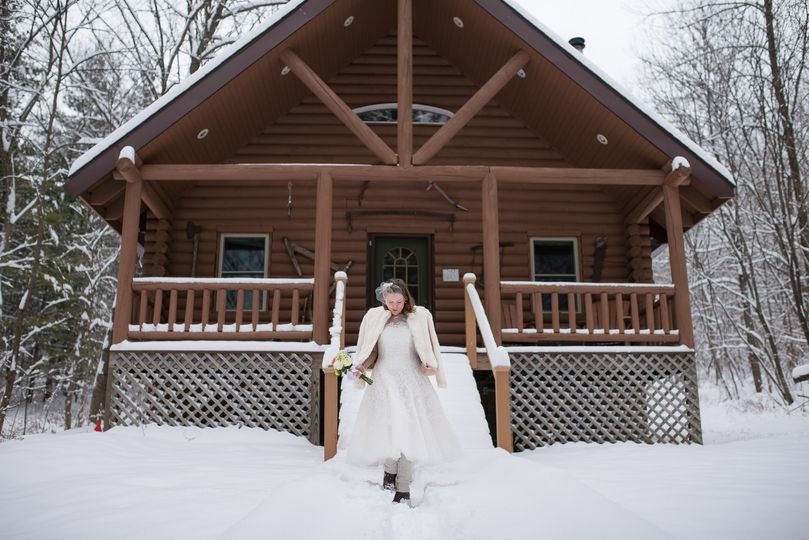 Winter cabin wedding