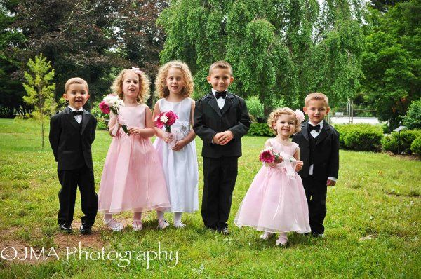Mini couple with their groomsmen and bridesmaid