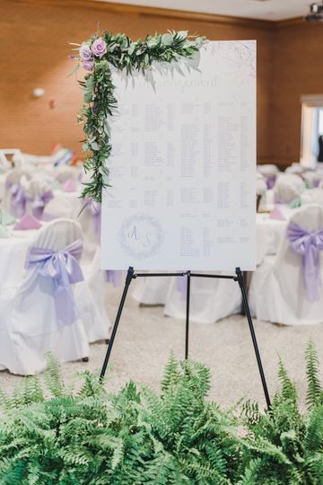 A lilac hued seating chart